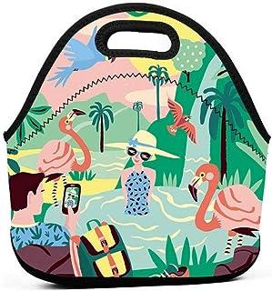 ランチバッグ ネオプレン 再利用可能な弁当ポーチポータブルキャリーランチトートバッグピクニック収納バッグフードグルメハンドバッグランチボックス(熱帯撮影写真鳥フラミンゴ)