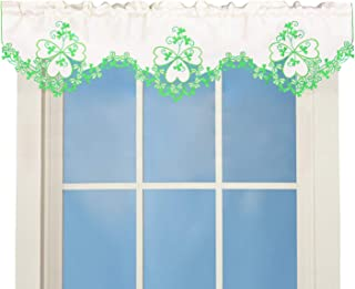 Simhomsen Irish Clover Kitchen Window Curtain Valance for St. Patrick's Day and Spring, Embroidered Shamrock Decorations (W 60'' × L 16'')