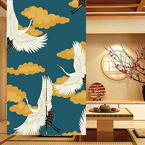 LIGICKY Tenda per porta in stile giapponese, in lino, spessa, con motivo a fiori, 85 x 120 cm, verde