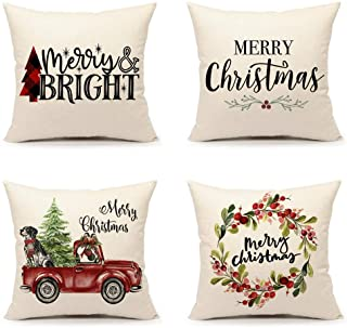 4TH Emotion Set of 4 Christmas Throw Pillow Cover Cushion Case for Sofa Couch 18 x 18 Inches Cotton Linen (Tree Merry Brig...