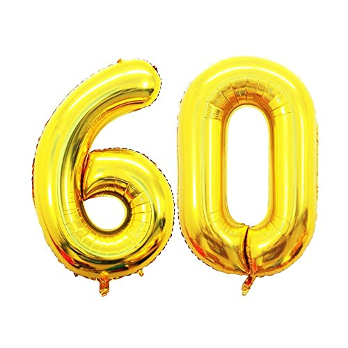 GOER 42 Inch Gold Number 60 Balloon,Jumbo Foil Helium Balloons for 60th Birthday Party Decorations and 60th Anniversary Event