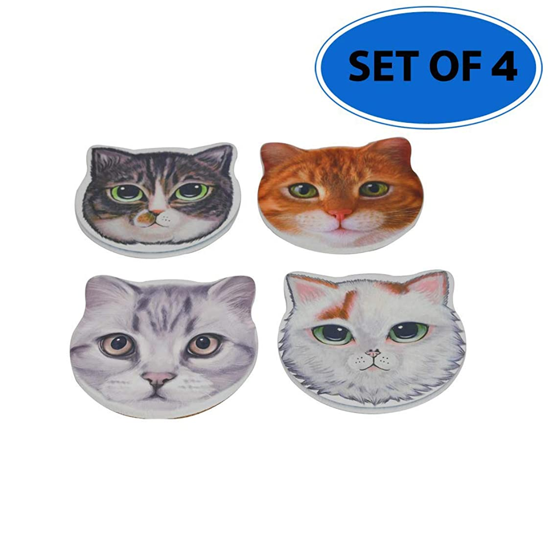 Ceramic Cat Face Coasters   Set of Four Kitty Designs - by Home-X