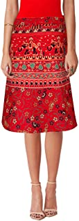 Sttoffa Badmeri Print Skater Skirt Knee Length Wrap Around Cotton Skirt Red