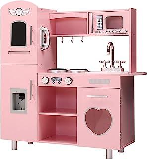 Keezi Kids Kitchen Toy Playset Set Wooden-Pink