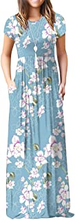 Jouica Women's Short Sleeve Floral Dress Loose Maxi Dresses Casual Maternity Dress with Pockets(S-3XL)