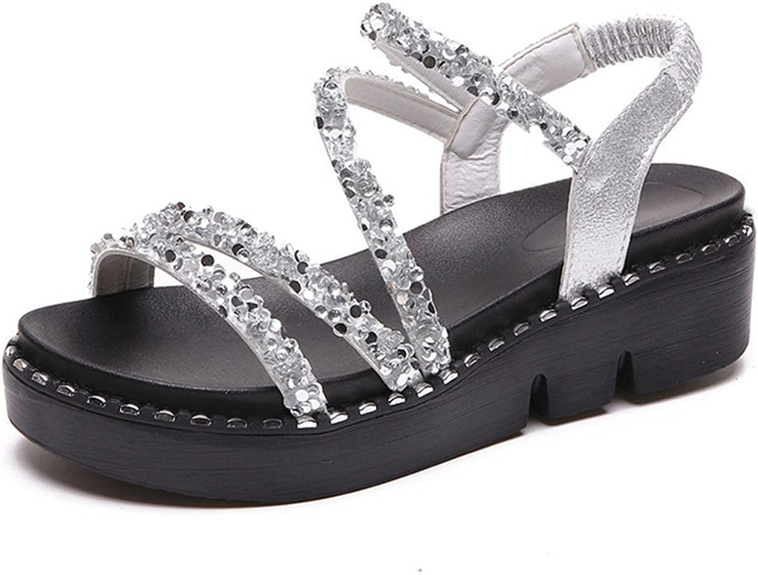 CYBLING Women's Platform Sandals Glitter Open Toe Fashion Ankle Strap Footbed Wedges shoes