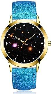 wall clock, Men's Wrist Watches Women's Wrist Watches Quartz Watch Star Mirror pu Strap Watch,Colour Name:Sky Blue (Color...
