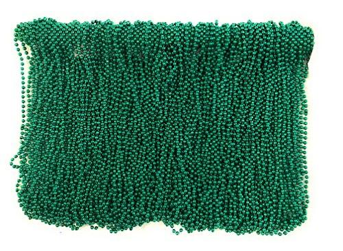 Mardi Gras Beads 33 inch 7mm, 10 Dozen, 120 Pieces (Green)