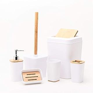 Kralix Bathroom Set, Bamboo, White, 6 Pcs