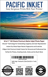 Professional Quality Matte Inkjet Photo Paper For Printing- 100 Sheets 230gsm 10.4mil (8.5-x-11-inch) | Bright White Photo...