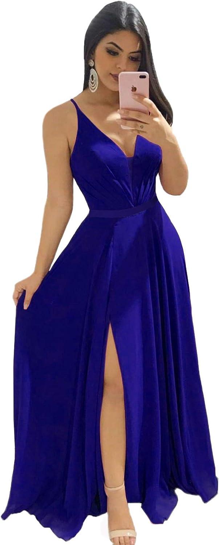 Zyhappk Women's Deep V-Neck Bridesmaid Dresses Long Simple A-Line Formal Dresses with Slit Pary Gowns ZY87