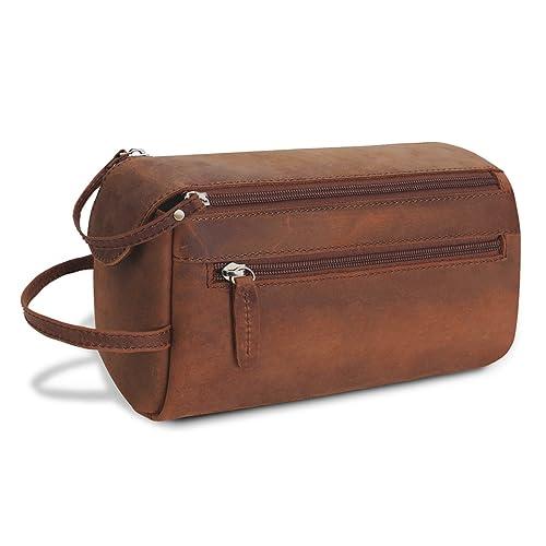 CoolBELL Genuine Leather Toiletry Bag Vintage Dopp Kit Bag Water-Resistant  Unisex Travel Shaving Bag 94bf9f87a9c73