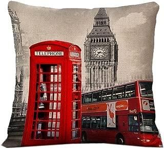 London Bus Telephone Throw Pillow Case Vintage Cushion Cover C15