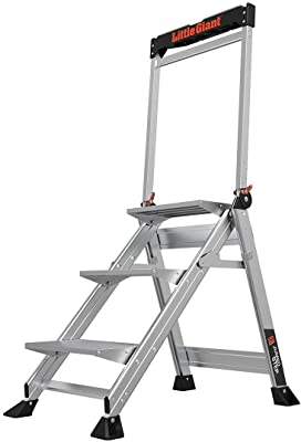 Little Giant Ladders, Jumbo Step, 3-Step, 2 Foot, Step Stool, Aluminum, Type 1AA, 375 lbs Weight Rating, (11903), Gray