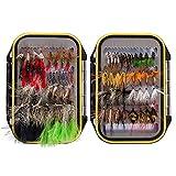 Bassdash Juego de moscas variadas para pesca con mosca, paquete de 72 unidades de señuelos con mosca seca
