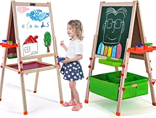 Refial Kids Easel,Large Easel Stand for Kids,Wooden Two-in-One Children's Art Kids Magnetic Easel for Toddlers,Drawing Chalkboard Whiteboard,Double-Sided Early Educational Toy Teaching Board