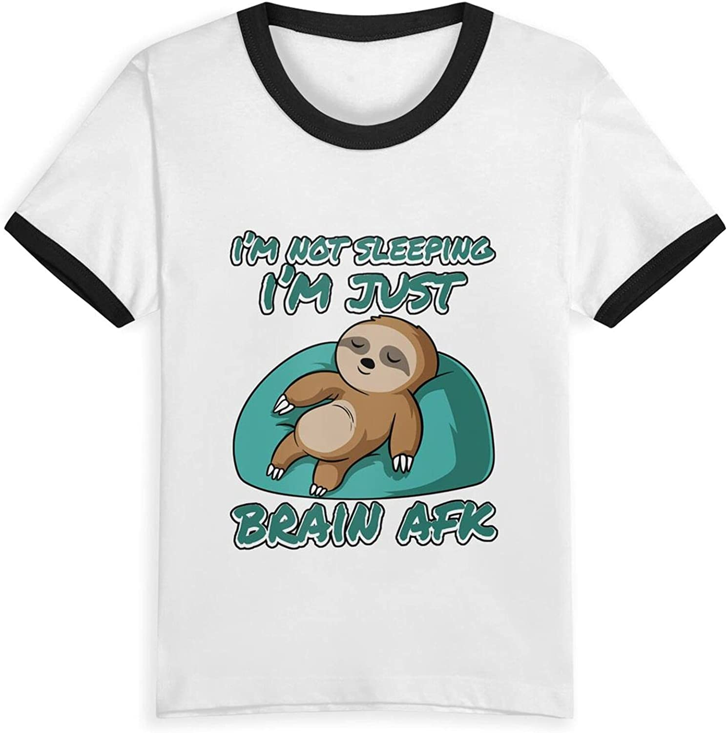 Im Not Sleeping Im Just Brain AFK Sloth T-Shirts Novelty for Kids Tees with Cool Designs