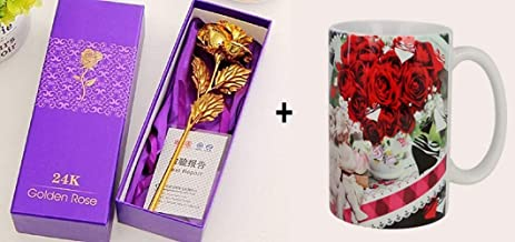Webelkart Combo 24K Gold Rose 10 INCHES with Gift Box and Valentines Quote Printed Coffee Mug (Designs May Very)