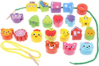 yotijay 21 Pieces Wooden Beads with 2 Lacing Thread Toys for Children Baby