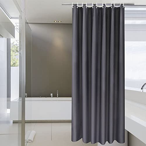 AoohHome Extra Long Shower Curtain, Solid Fabric Shower Curtain Liner for Hotel, Mildew Resistant, Waterproof, Dark G...