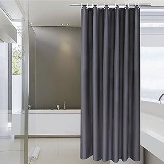 AooHome シャワーカーテン 120 × 150cm 防カビ 防水 ユニットバス 浴室カーテン 150cm丈 軽量 速乾 ホテル 高級 バス用品 カーテンリング付き 無地 ダークグレー