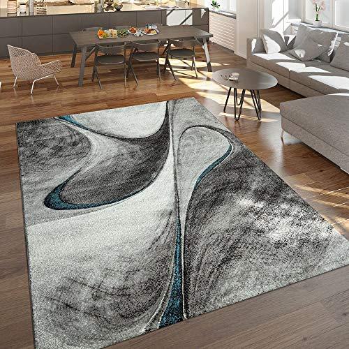 Modern Laagpolig Vloerkleed Woonkamer Gemêleerd Abstract Design Grijs/Blauw/Zwart, Maat:80x150 cm