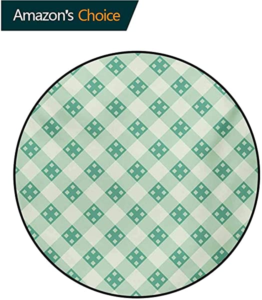 Mint Modern Machine Washable Round Bath Mat Old Fashion Striped Pattern With Geometrical Details Checkered Simple Tile Non Slip Living Room Soft Floor Mat Diameter 35 Inch