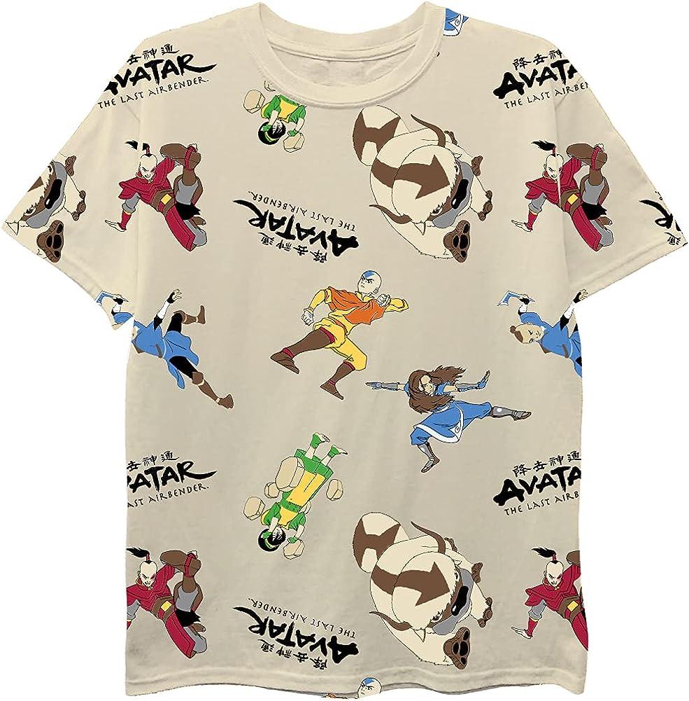 Avatar The Last Airbender Boys Short Sleeve T-Shirt - All Over Print Boys Avatar T-Shirt