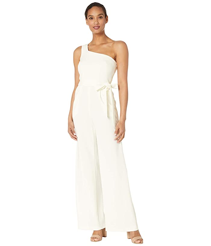 Belted One Shoulder Jumpsuit (Cream) Women's Jumpsuit & Rompers One Piece