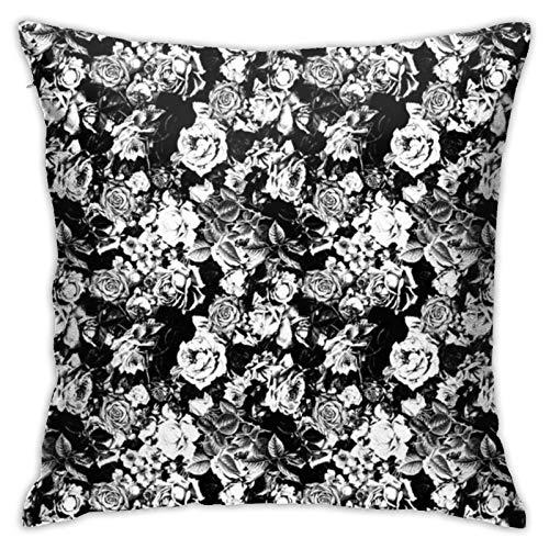 Funda de cojín, color blanco y negro, romántico, para sofá, dormitorio, oficina, decoración de almohada, 45 x 45 cm