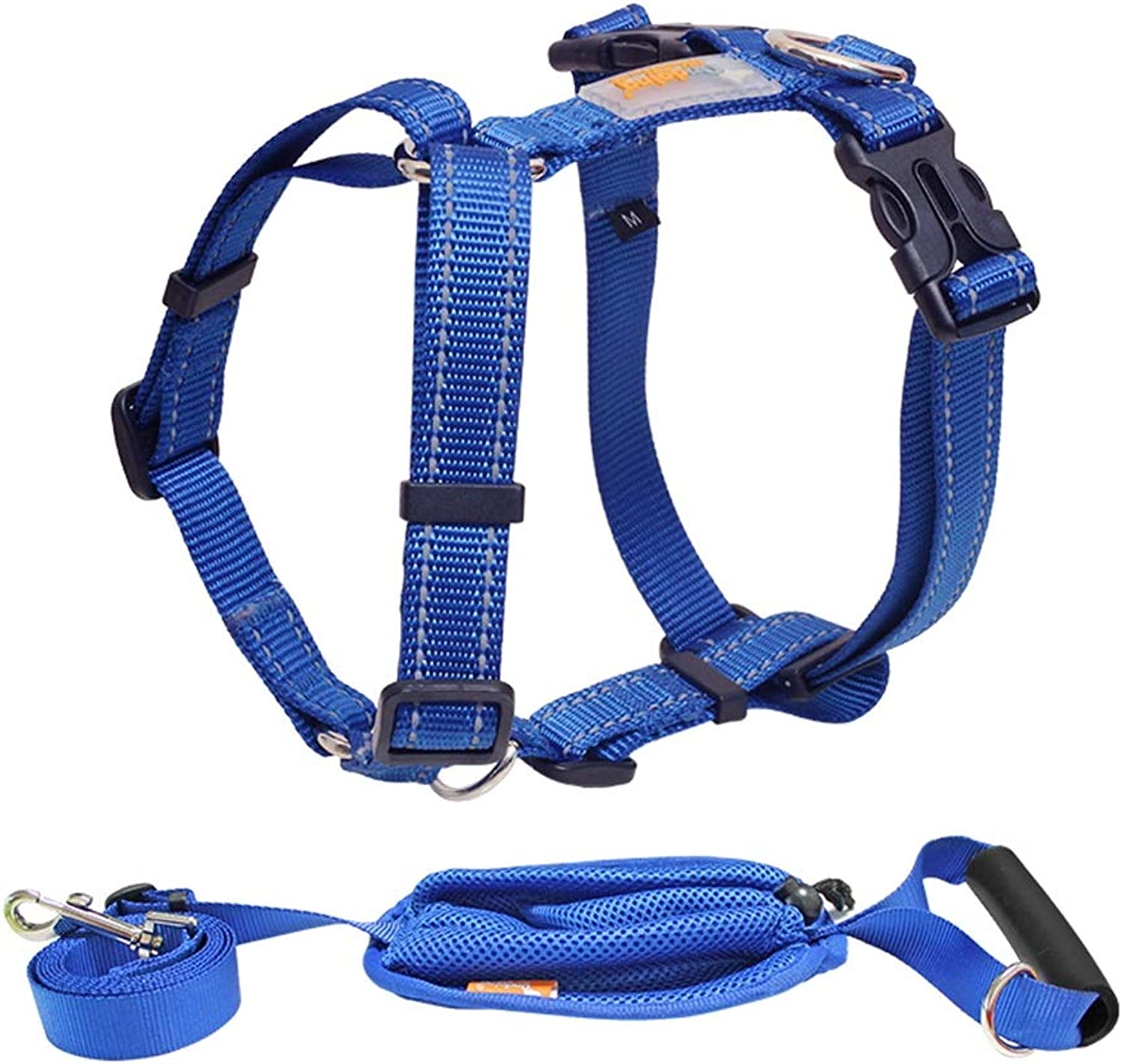 Dog Vest Harness, Chest Strap Traction Leash Outdoor Training Walk Run Adjustable Neck Chest Safety Buffer Chain for Puppy Small Medium Teddy (color   bluee and Leash, Size   L(4260cm))