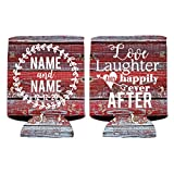 VictoryStore Can and Beverage Coolers - Custom Wedding Can Cooler, Love Laughter and Happily Ever After, Set of 100