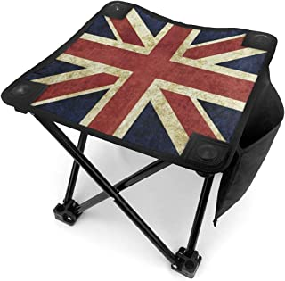 SLHFPX Vintage Union Jack Small Folding Camping Stool Lightweight Chairs Portable Seat for Adults Fishing Hiking Garden Beach BBQ Hunting Outdoor with Storage Bag