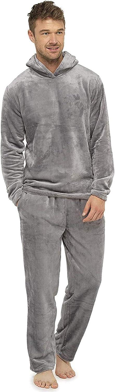 HUOJING Suede Sleepwear Mens Solid Color Warm Pajamas Suit Loose Hooded Pullover Trousers Pjs Homewear