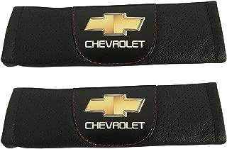 Jimat 2pcs Chevrolet Logo Black Leather Car Seat Safety Belt Strap Covers Shoulder Pad Accessories Fit For Chevrolet Sonic Chevrolet Spark Chevrolet Suburban Chevrolet Tahoe Chevrolet Traverse