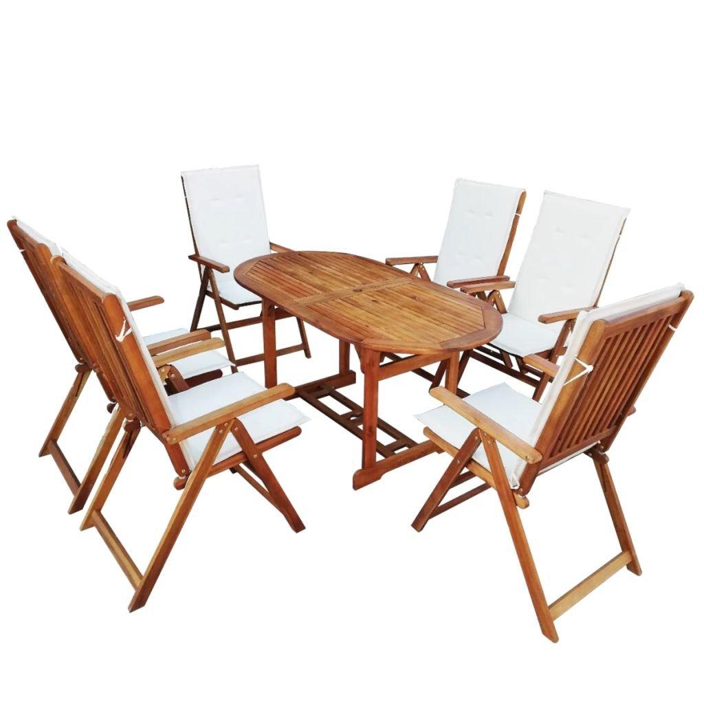 Tidyard Conjunto de Mesas y 6 Sillas de Jardín con Cojíns,Conjunto de Muebles de Jardín 13 Piezas para Jardín Terraza Patio,Madera de Acacia: Amazon.es: Hogar