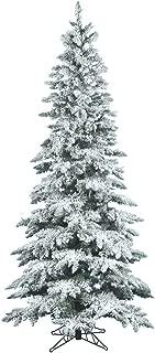 Vickerman Flocked Utica Fir Tree with 744 Tips, Slim, 6.5-Feet by 39-Inch