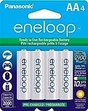 Panasonic BK-3MCCA4BA eneloop AA 2100 Cycle Ni-MH Pre-Charged Rechargeable Batteries, 4 Pack