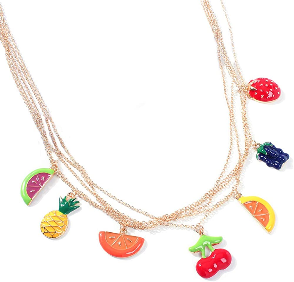 Premium Multilayer Colorful Fruit Choker Necklace Gold Chain Polish Geometric Pattern Pendant for Girls Women Best Party Gifts