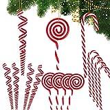 BHGT 12PCS Canne a Sucre Noël Canne Bonbons Décorations de Sapin 3 Style Sucette de Noël Ornement Pendentif de Noël pour Sapin de Noël Arbre de Noël