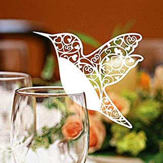 m·kvfa 50pcs Love Bird Table Mark Wine Glass Name Place Card Wedding Party Decor Paper Place Cards Wine Glass Cup Decoration