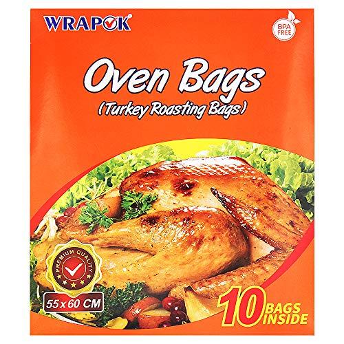 WRAPOK Bolsas de horno de Turquía, tamaño grande, costillas para hornear, sin ensuciar, para pollo, carne, jamón, ave, pescado, marisco, verduras, 10 bolsas (21.6 x 23.6 pulgadas)