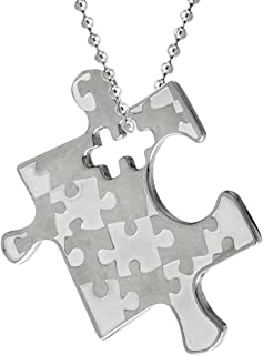 Sabrina Silver Stainless Steel Autism Awareness Puzzle Piece Pendant 1 1/8 Tall
