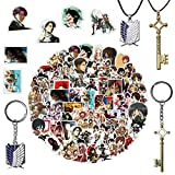 Anime Attack on Titan Keychains, Eren Jaeger Key Shape Necklace Pendants Anime Cosplay Wings of Liberty Key Chain with 100 pcs Attack on Titan Sticker