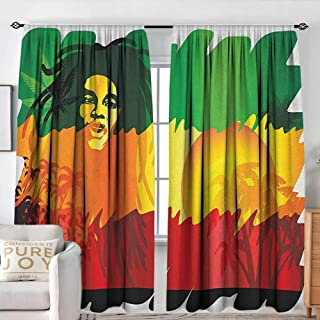 NUOMANAN Curtains for Living Room Rasta,Iconic Reggae Music Singer Abstract Design with Sun and Palm Trees, Green Yellow Red and Orange,Decor Collection Thermal/Room Darkening Window Curtains 84