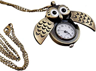 ABEILLO Antique Style Owl Brass Pocket Watch Necklace Pendant Quartz Nurses Womens Jewelry