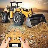 SOULONG Bulldozer RC, RC Escavatore Camion di Costruzione, Giocattolo del Auto di Ingegneria Telecomando Elettrica Modello Escavatore 2.4G per Bambini, Giallo