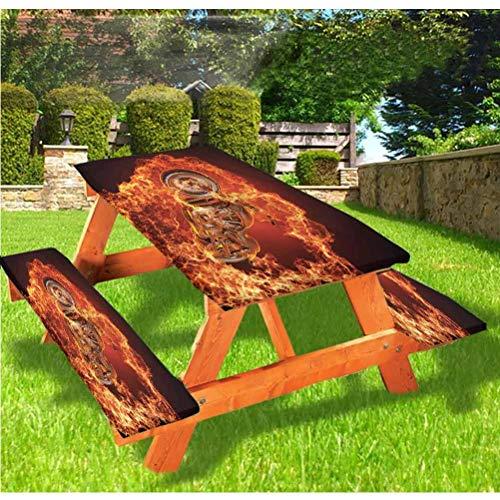LEWIS FRANKLIN Shower curtain Manly - Mantel ajustable para mesa y bancos de pícnic con borde elástico, 28 x 72 pulgadas, juego de 3 piezas para viajes, Navidad, pícnics, fiestas al aire libre