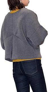 [1/2style (ニブンノイチスタイル)] ゆったり 長袖 襟 なし カジュアル フォーマル ショート ジャケット レディース