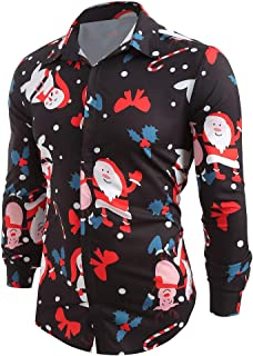 Men's Christmas Slim Fit Longsleeve Floral Shirt Casual Button Down Dress Shirts Lapel Single Breasted Work Shirt